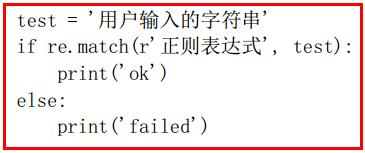 test '  if re. match (r' ,  print (' ok' )  else:  print (' failed' )  test) :